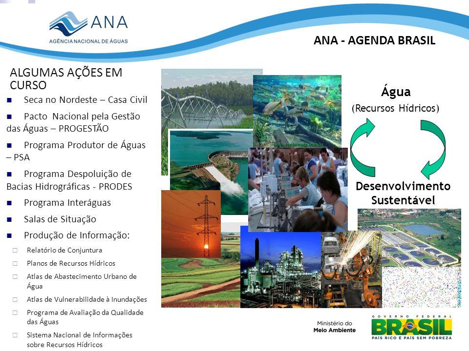 ANA - AGENDA BRASIL ALGUMAS AÇÕES EM CURSO Água Desenvolvimento