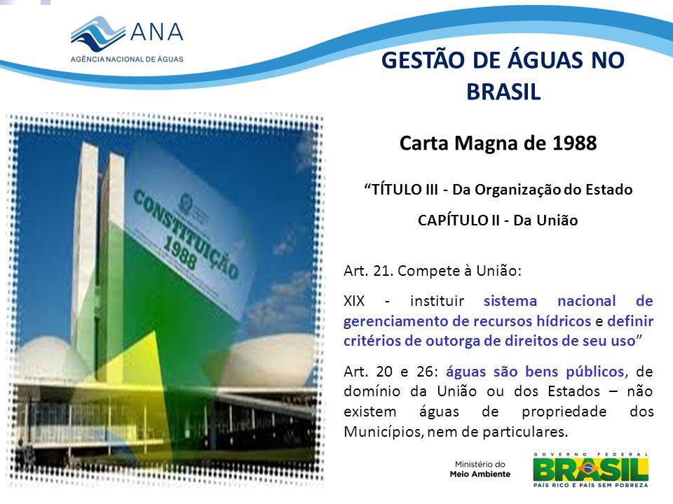 GESTÃO DE ÁGUAS NO BRASIL TÍTULO III - Da Organização do Estado