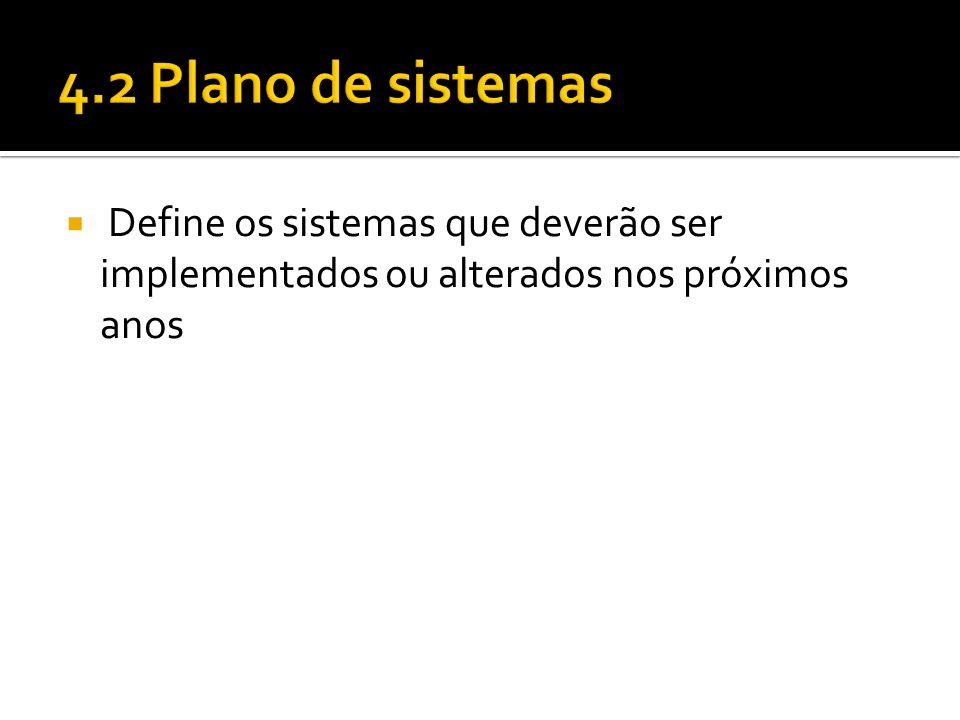 4.2 Plano de sistemas Define os sistemas que deverão ser implementados ou alterados nos próximos anos.