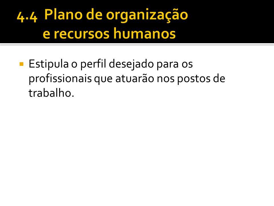 4.4 Plano de organização e recursos humanos