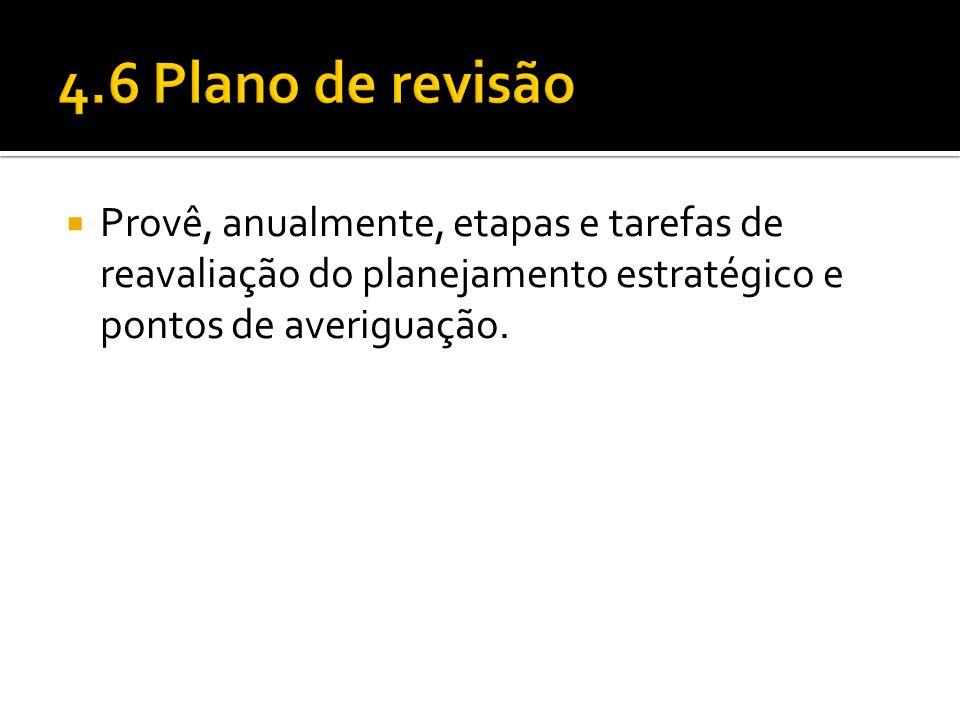 4.6 Plano de revisão Provê, anualmente, etapas e tarefas de reavaliação do planejamento estratégico e pontos de averiguação.
