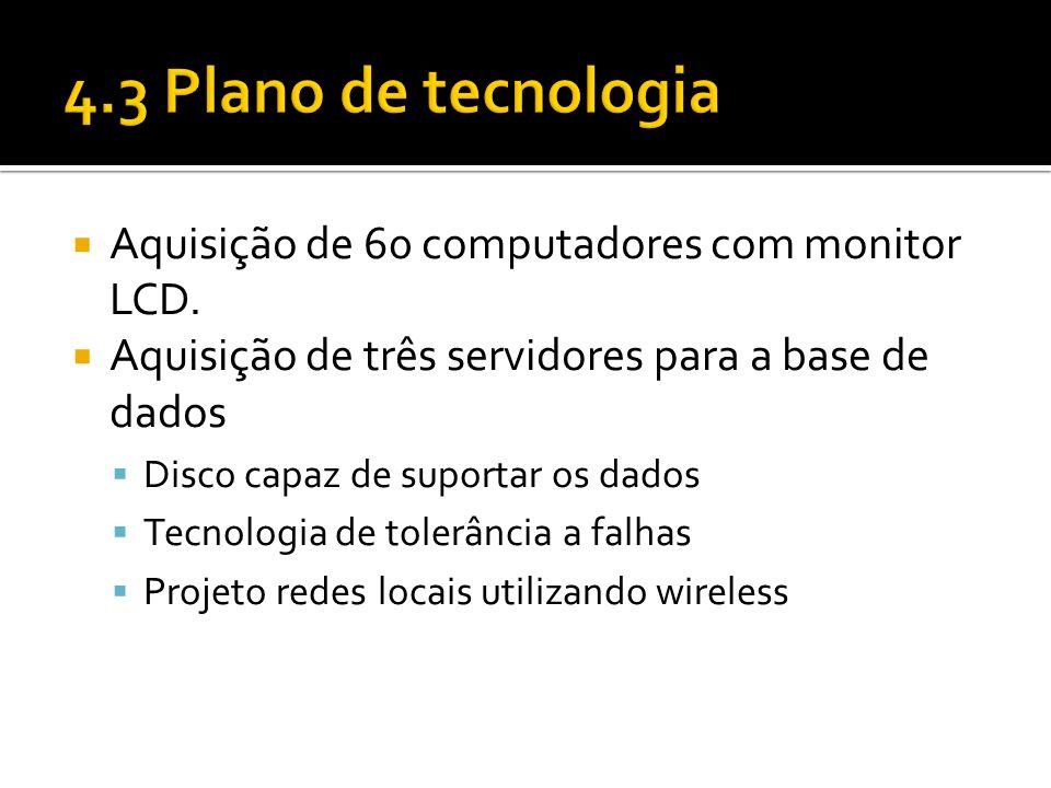 4.3 Plano de tecnologia Aquisição de 60 computadores com monitor LCD.