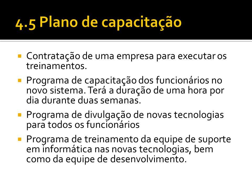 4.5 Plano de capacitação Contratação de uma empresa para executar os treinamentos.