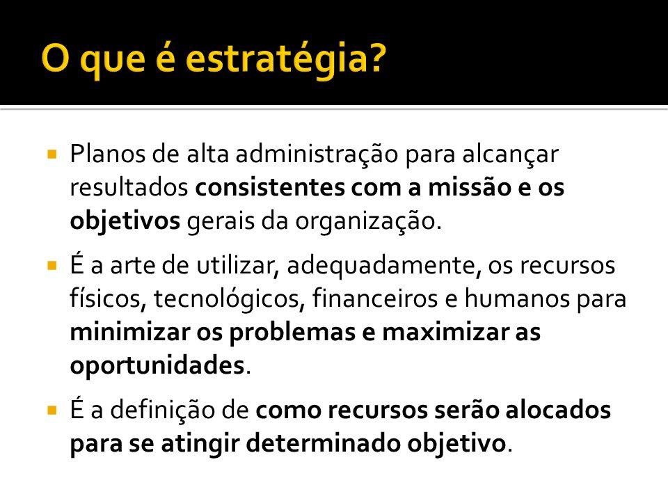 O que é estratégia Planos de alta administração para alcançar resultados consistentes com a missão e os objetivos gerais da organização.