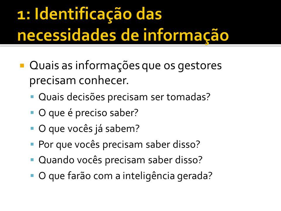 1: Identificação das necessidades de informação