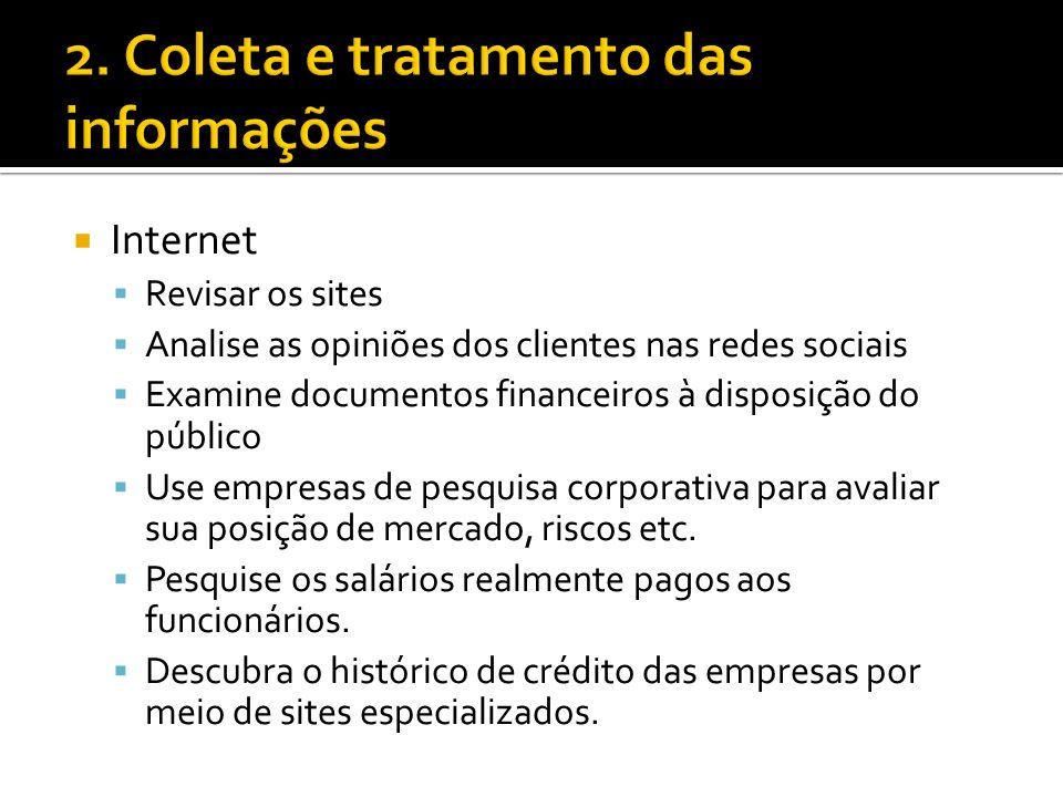 2. Coleta e tratamento das informações