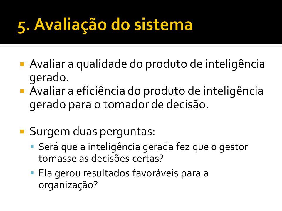 5. Avaliação do sistema Avaliar a qualidade do produto de inteligência gerado.
