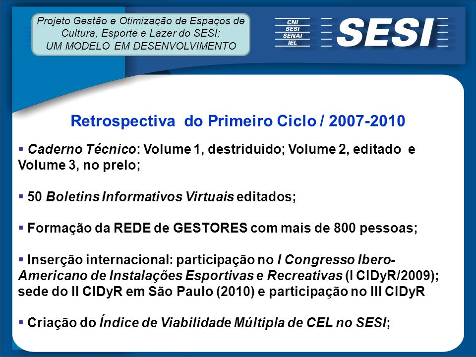 Retrospectiva do Primeiro Ciclo / 2007-2010