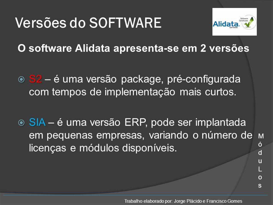 Versões do SOFTWARE O software Alidata apresenta-se em 2 versões