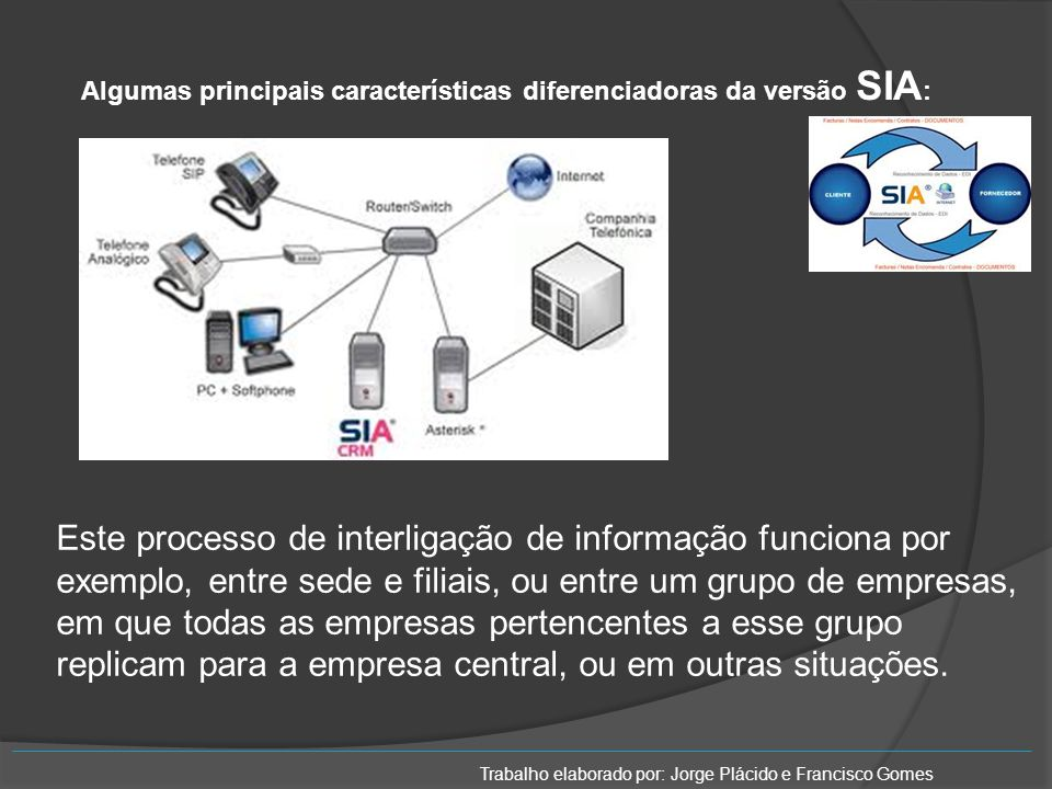 Algumas principais características diferenciadoras da versão SIA: