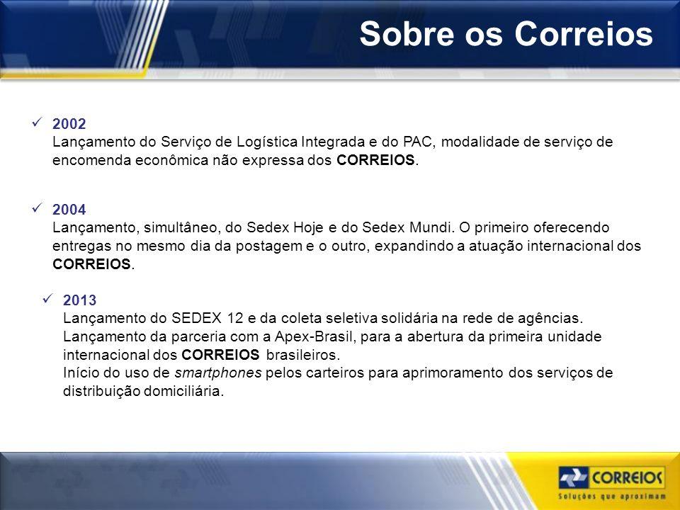 Sobre os Correios 2002 Lançamento do Serviço de Logística Integrada e do PAC, modalidade de serviço de encomenda econômica não expressa dos CORREIOS.
