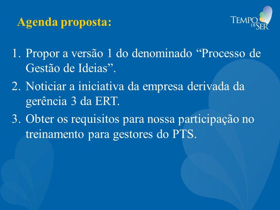Agenda proposta: Propor a versão 1 do denominado Processo de Gestão de Ideias . Noticiar a iniciativa da empresa derivada da gerência 3 da ERT.