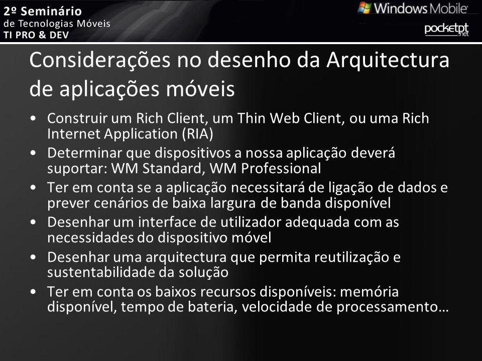 Considerações no desenho da Arquitectura de aplicações móveis