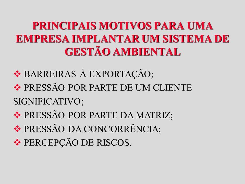 BARREIRAS À EXPORTAÇÃO; PRESSÃO POR PARTE DE UM CLIENTE SIGNIFICATIVO;