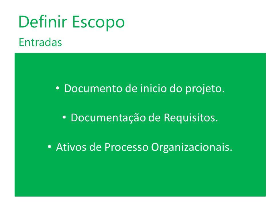 Definir Escopo Documento de inicio do projeto.