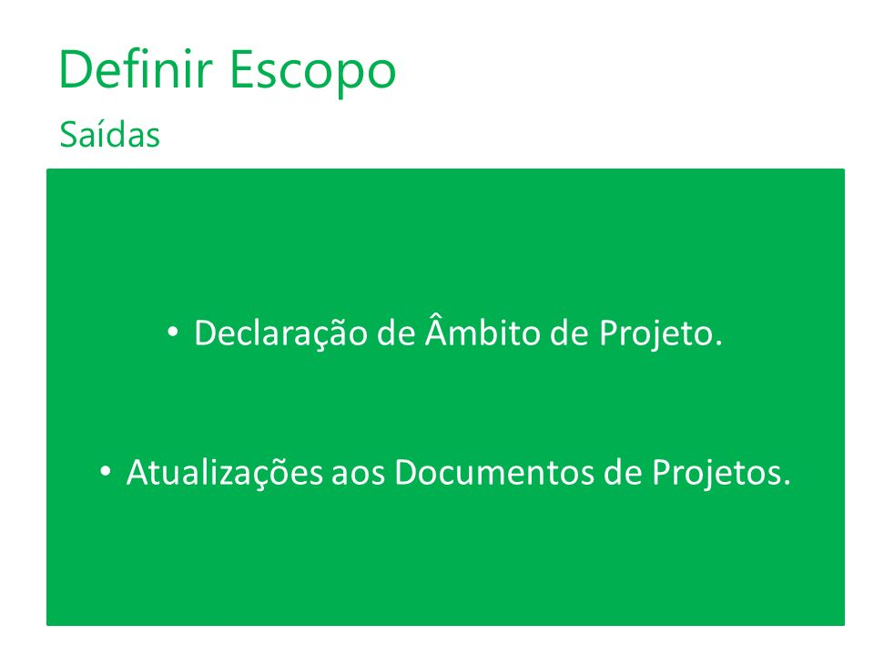 Definir Escopo Declaração de Âmbito de Projeto.