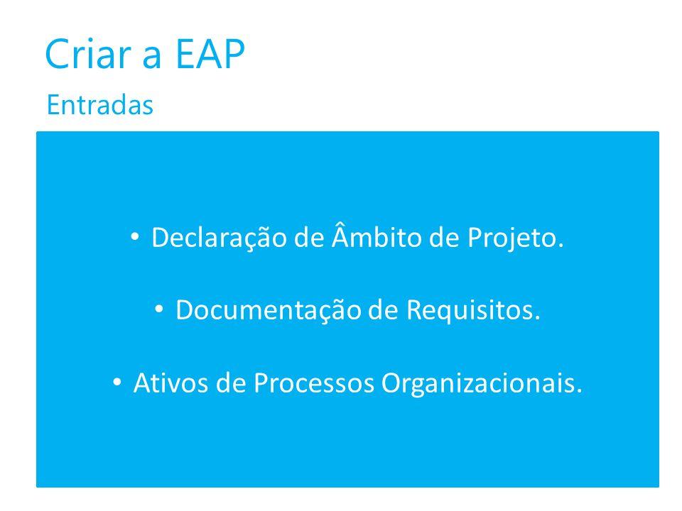 Criar a EAP Declaração de Âmbito de Projeto.