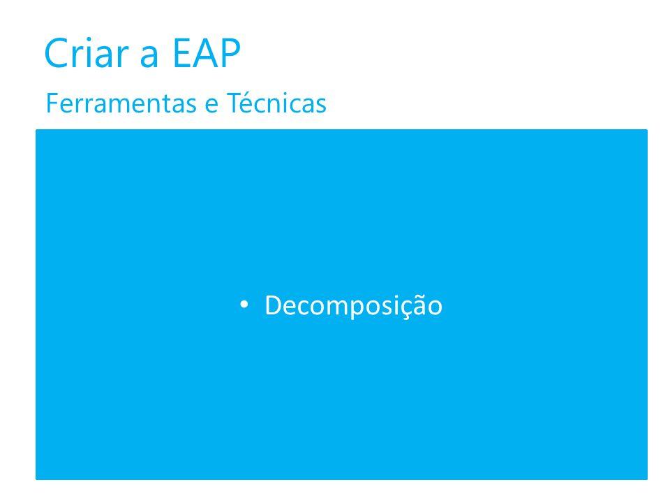 Criar a EAP Ferramentas e Técnicas Decomposição