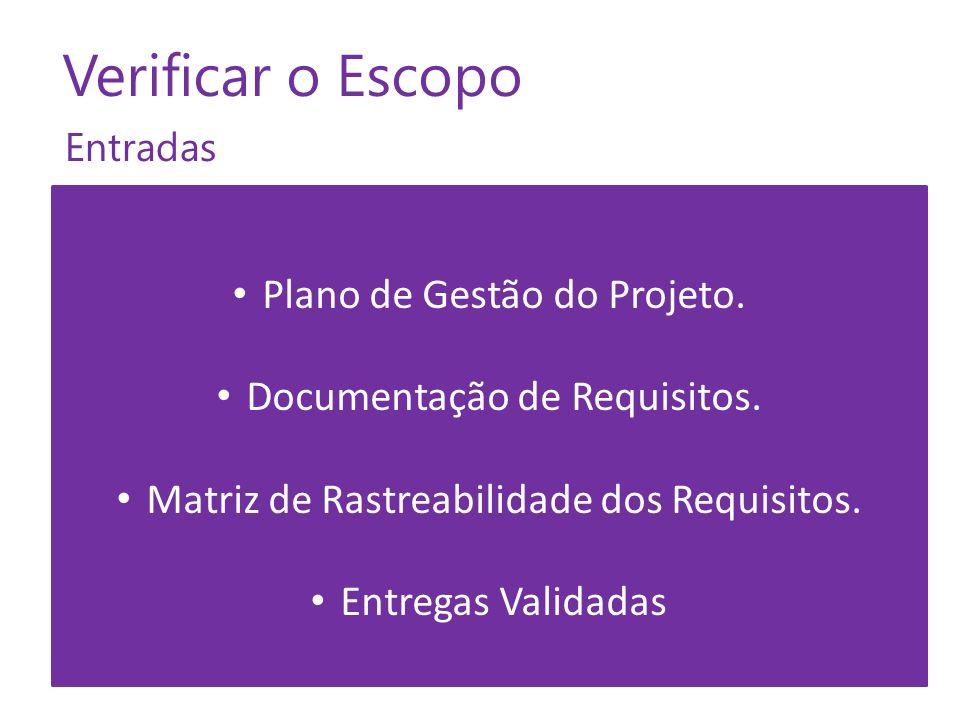Verificar o Escopo Plano de Gestão do Projeto.