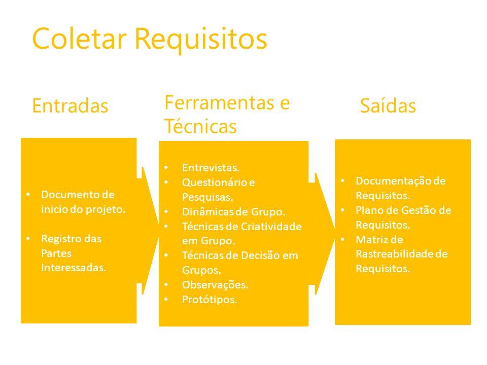 Coletar Requisitos Ferramentas e Técnicas Entradas Saídas Entrevistas.