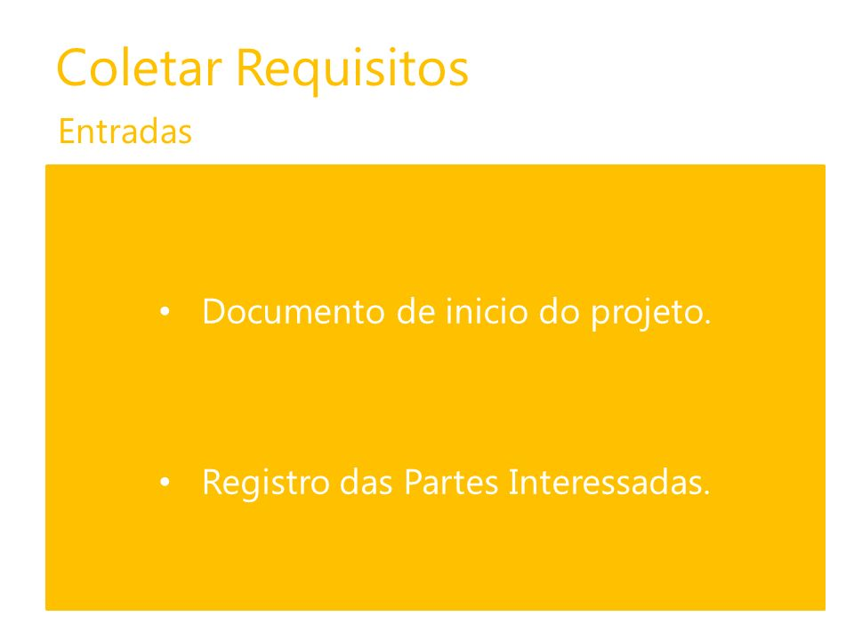 Coletar Requisitos Entradas Documento de inicio do projeto.