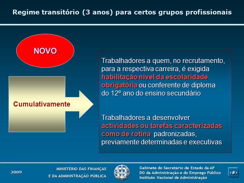 Regime transitório (3 anos) para certos grupos profissionais