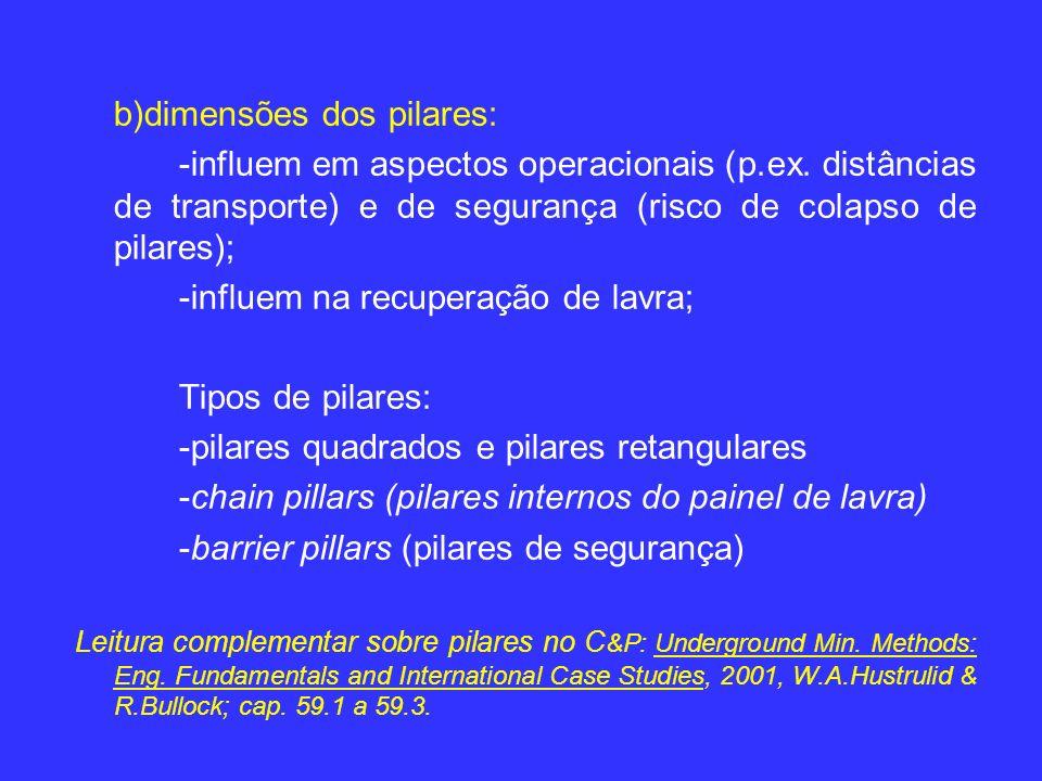 b)dimensões dos pilares: