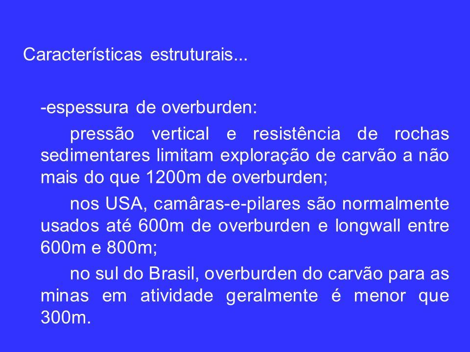 Características estruturais... -espessura de overburden: