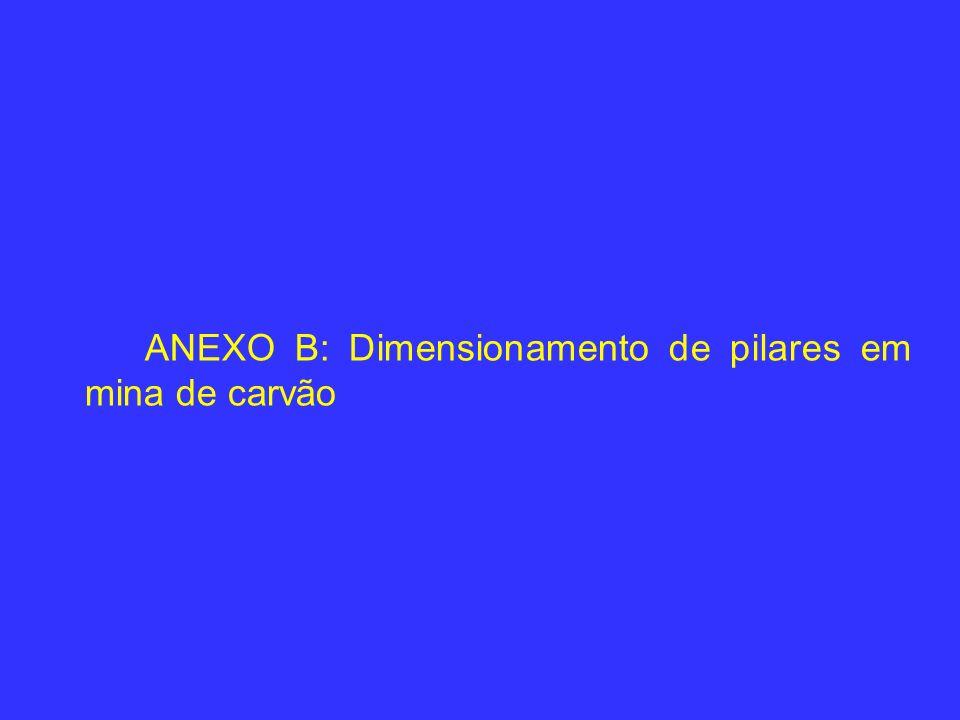 ANEXO B: Dimensionamento de pilares em mina de carvão