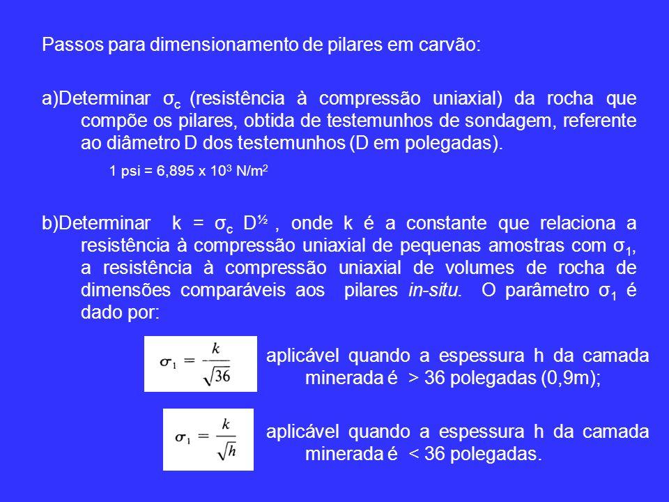 Passos para dimensionamento de pilares em carvão:
