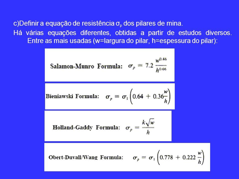 c)Definir a equação de resistência σp dos pilares de mina.