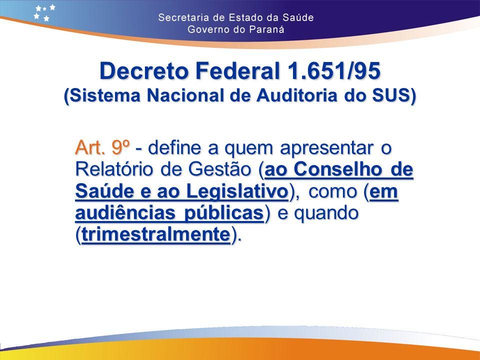 Decreto Federal 1.651/95 (Sistema Nacional de Auditoria do SUS)