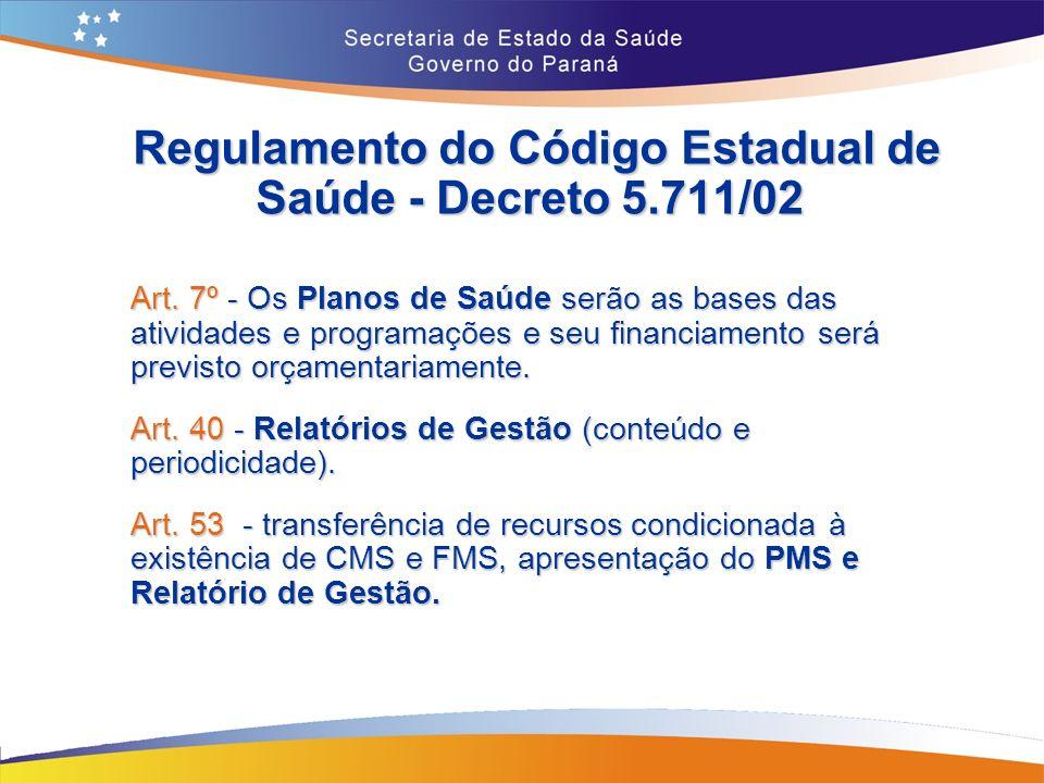Regulamento do Código Estadual de Saúde - Decreto 5.711/02