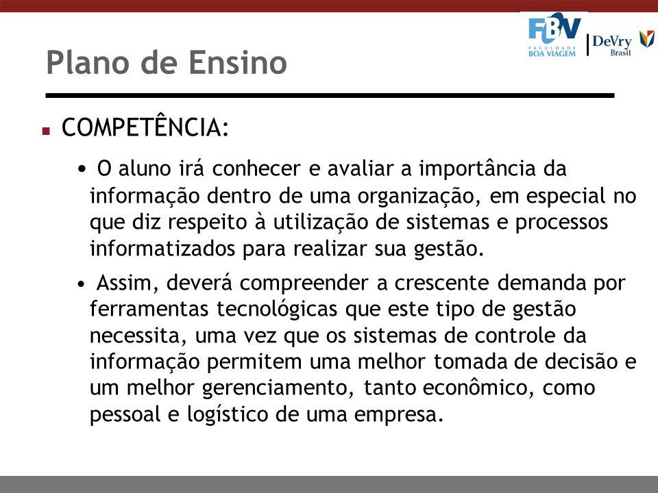 Plano de Ensino COMPETÊNCIA: