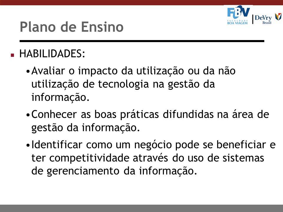 Plano de Ensino HABILIDADES: