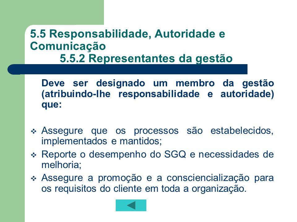 5. 5 Responsabilidade, Autoridade e Comunicação. 5. 5