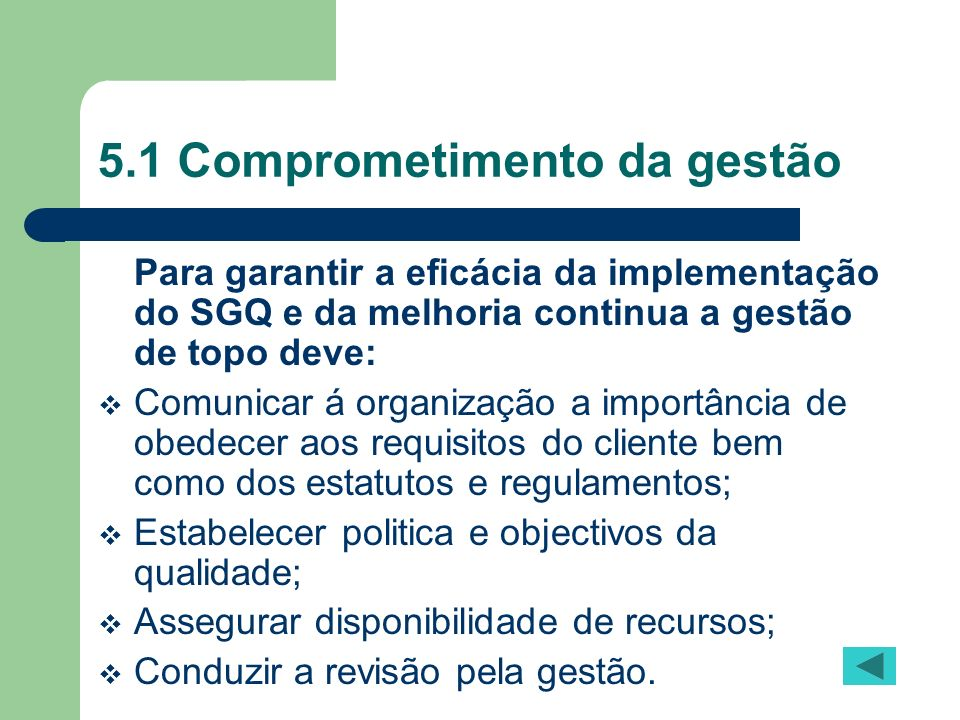 5.1 Comprometimento da gestão