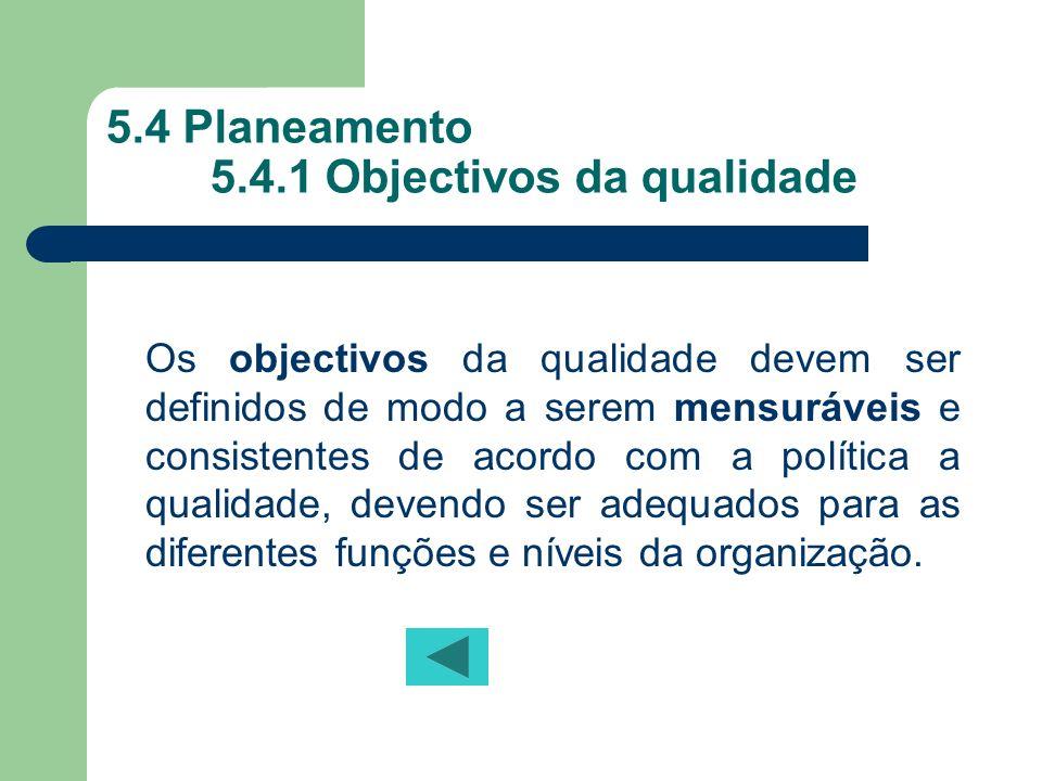 5.4 Planeamento 5.4.1 Objectivos da qualidade
