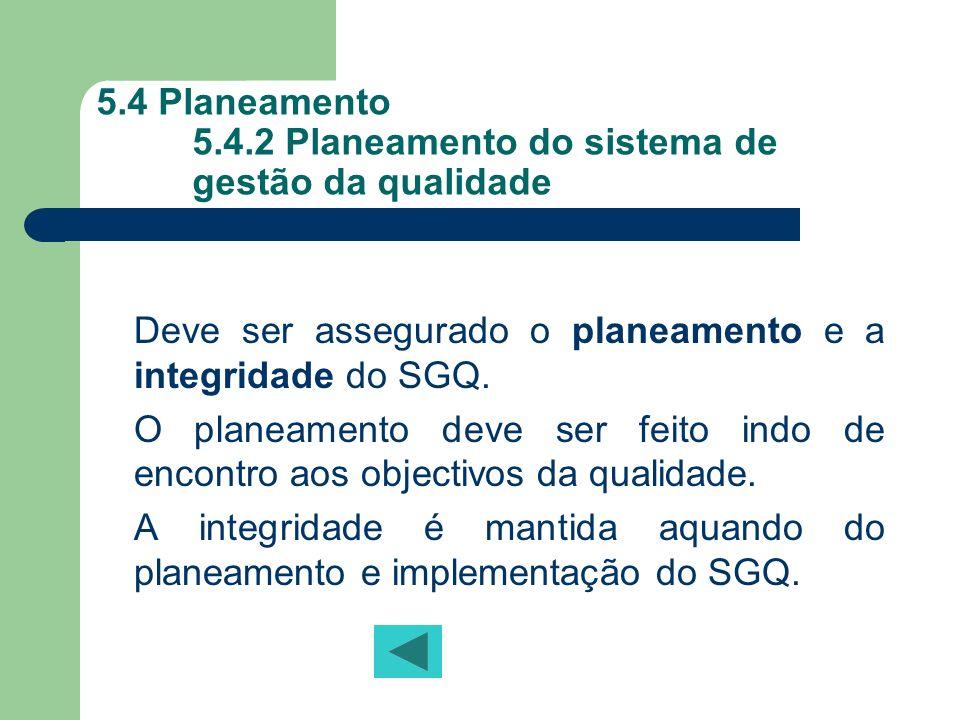 5.4 Planeamento 5.4.2 Planeamento do sistema de gestão da qualidade