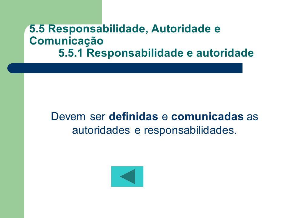 Devem ser definidas e comunicadas as autoridades e responsabilidades.