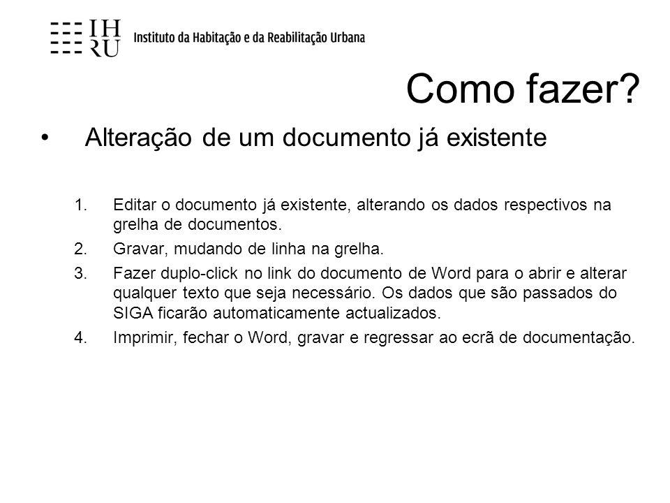 Como fazer Alteração de um documento já existente