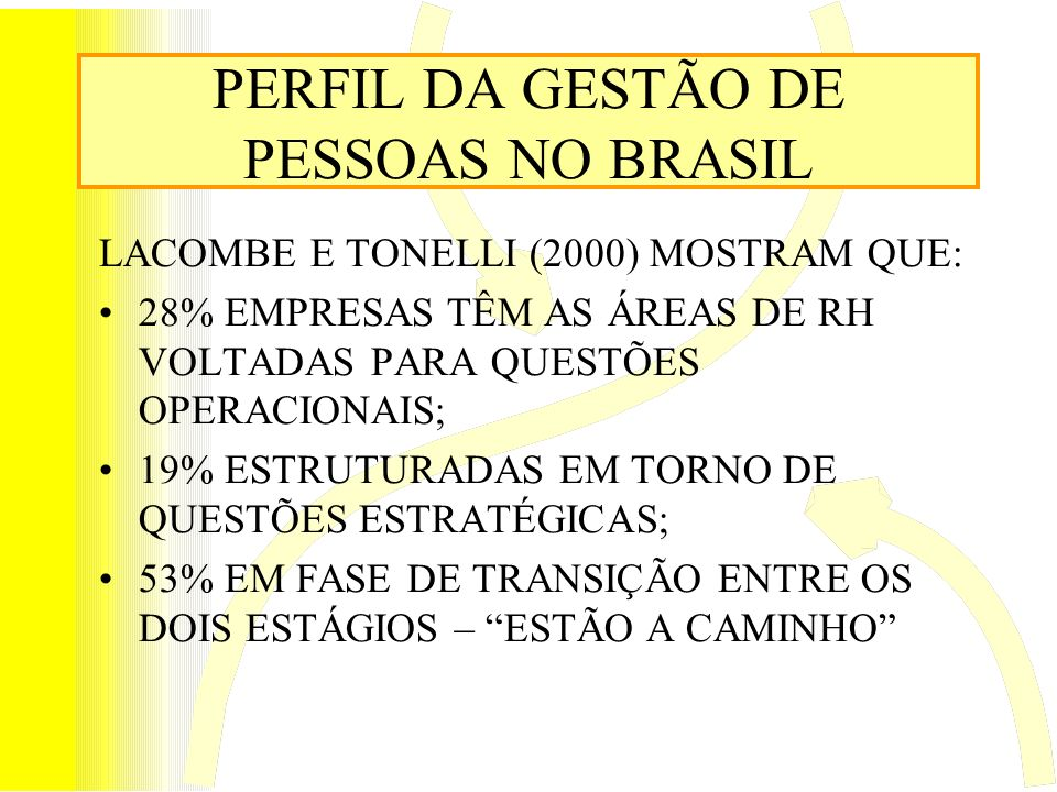 PERFIL DA GESTÃO DE PESSOAS NO BRASIL