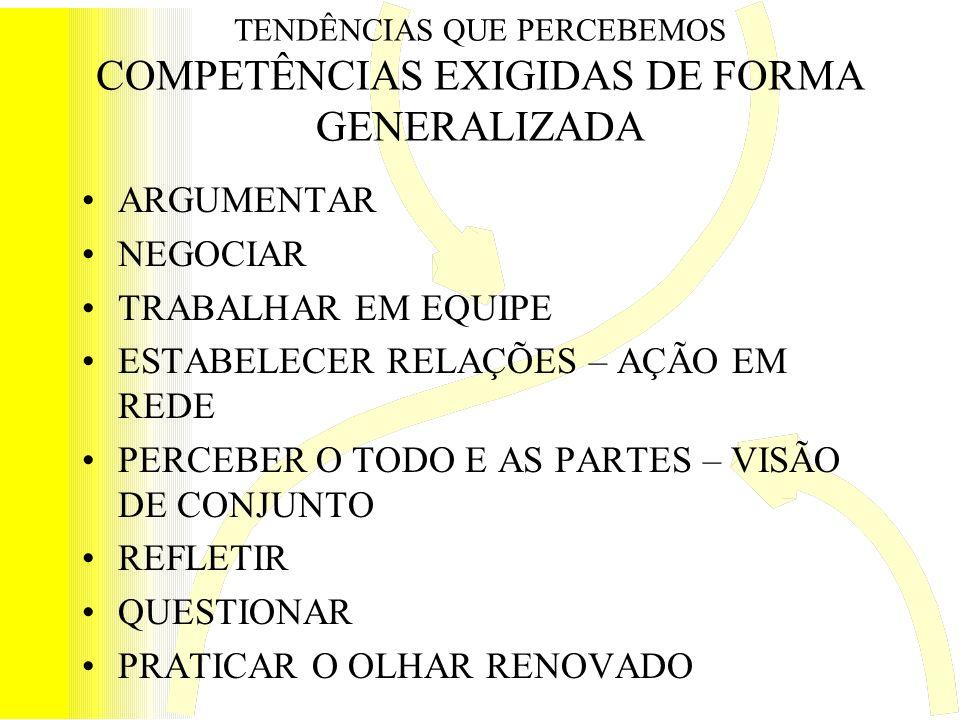TENDÊNCIAS QUE PERCEBEMOS COMPETÊNCIAS EXIGIDAS DE FORMA GENERALIZADA