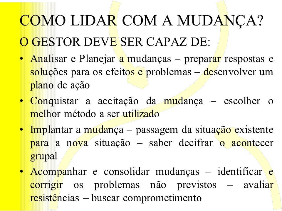 COMO LIDAR COM A MUDANÇA