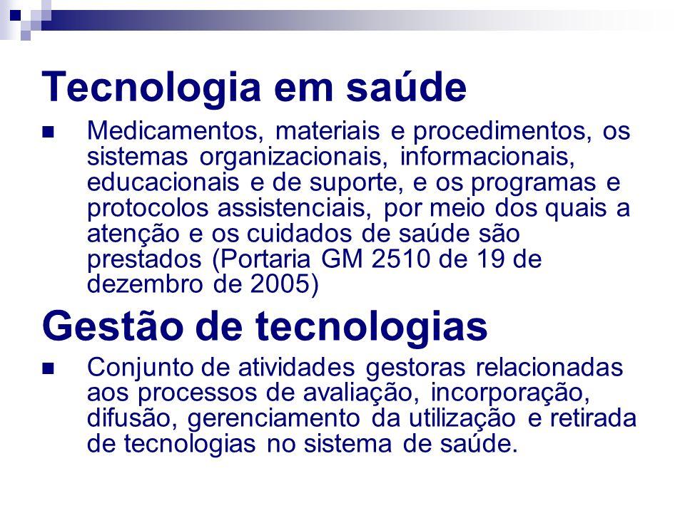 Tecnologia em saúde Gestão de tecnologias
