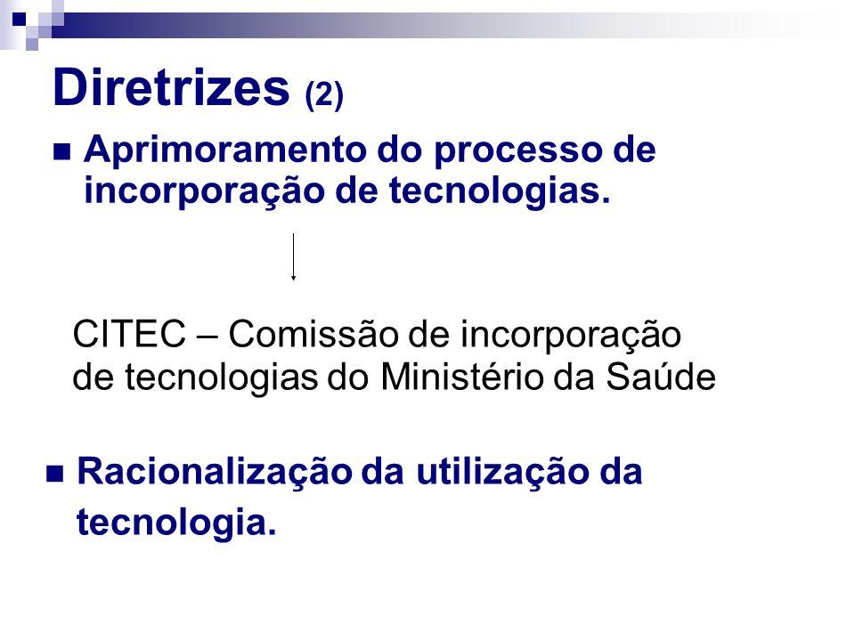 Diretrizes (2) Aprimoramento do processo de incorporação de tecnologias. CITEC – Comissão de incorporação.