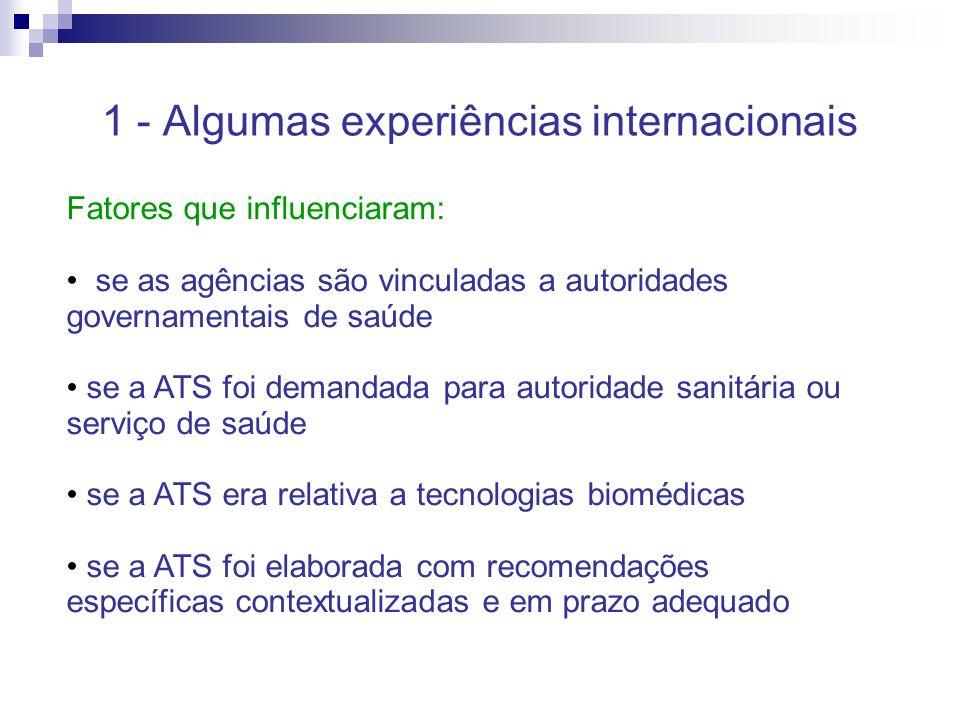 1 - Algumas experiências internacionais