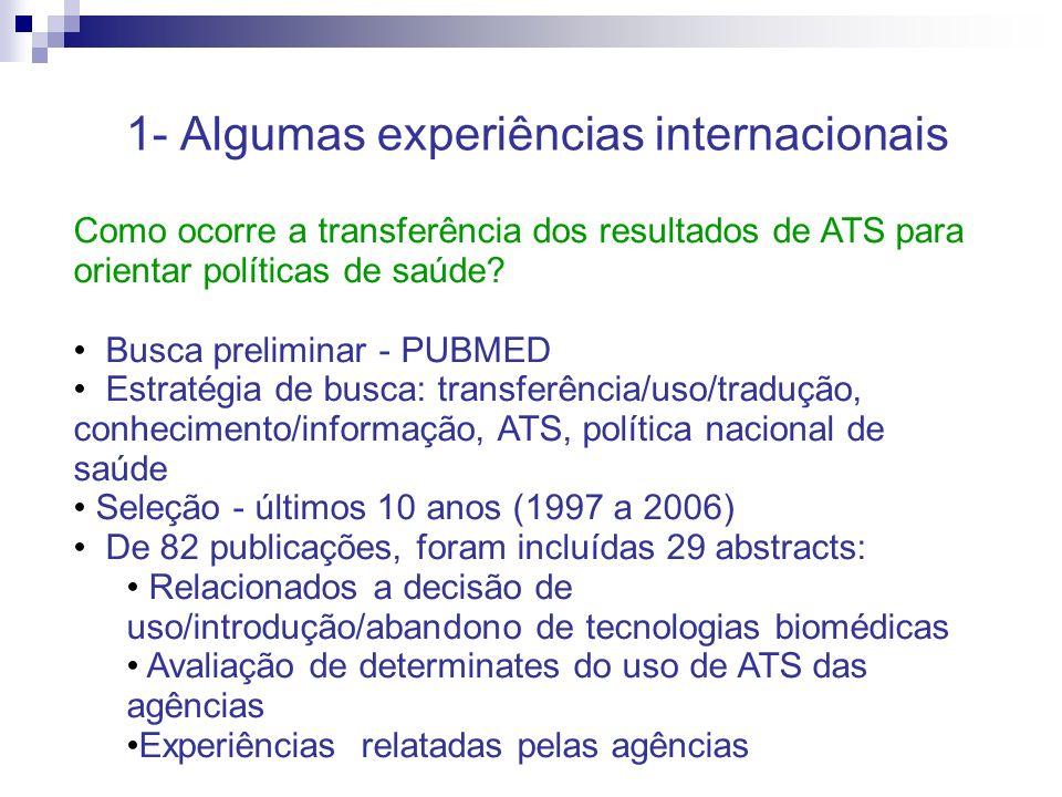 1- Algumas experiências internacionais