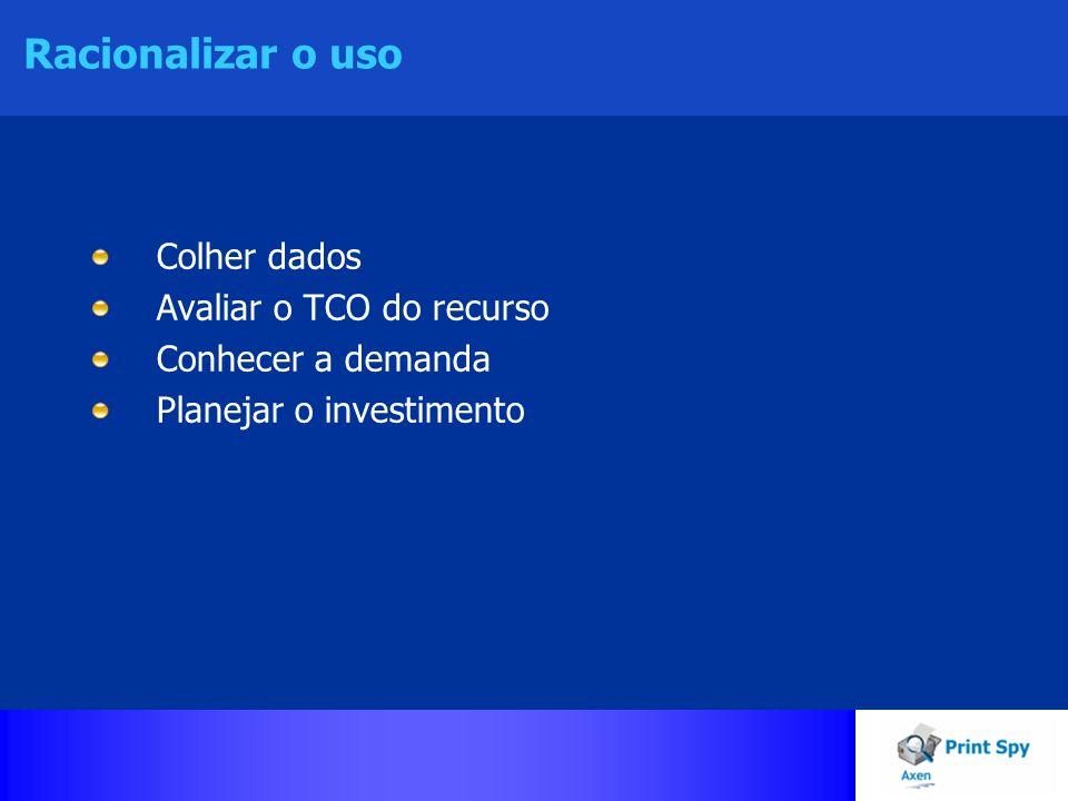 Racionalizar o uso Colher dados Avaliar o TCO do recurso