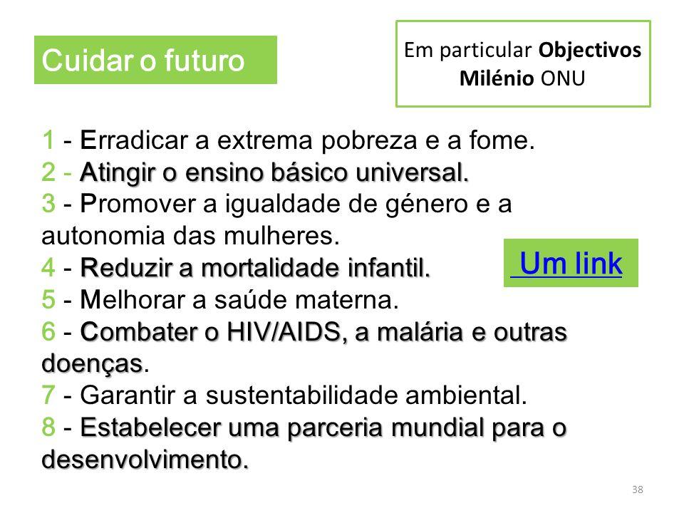 Em particular Objectivos Milénio ONU